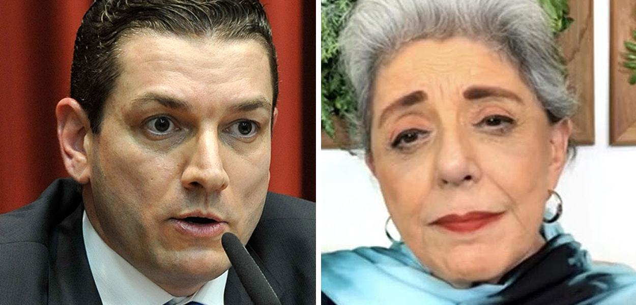 Paulo Maiurino, chefe da PF, e a jornalista Leda Nagle