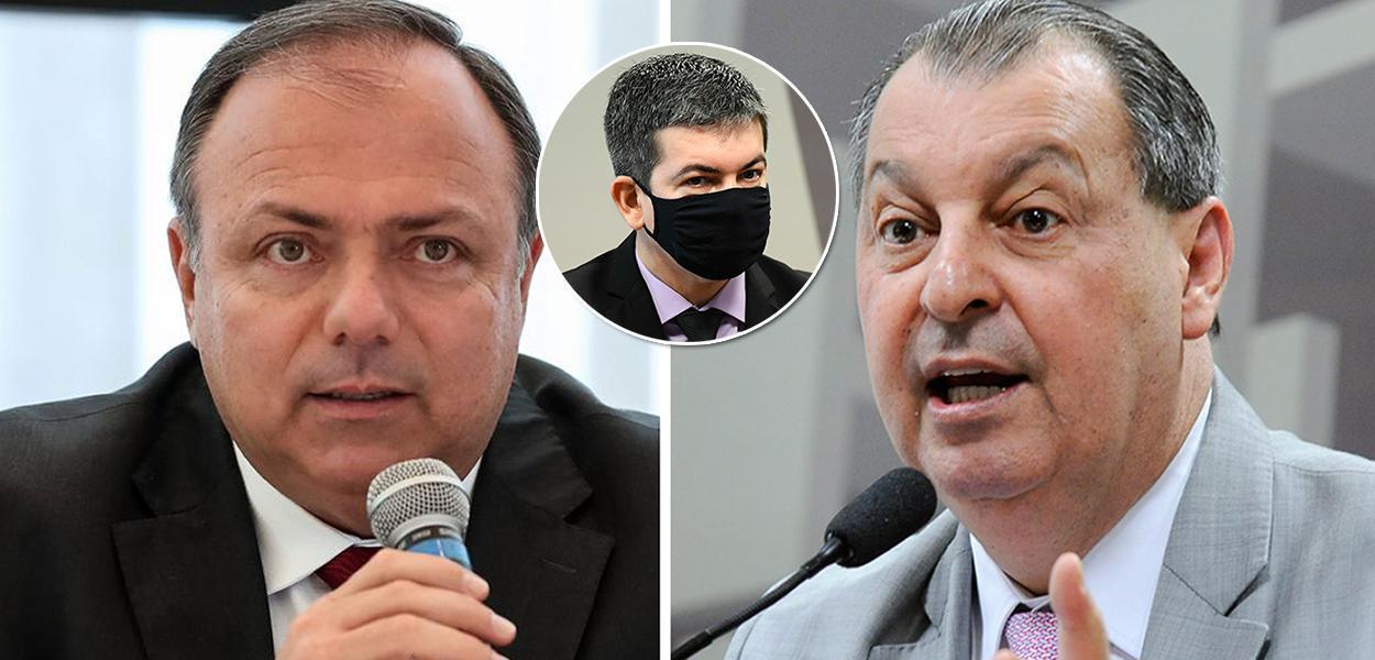 Ex-ministro Eduardo Pazuello e os senadores Randolfe Rodrigues e o Omar Aziz