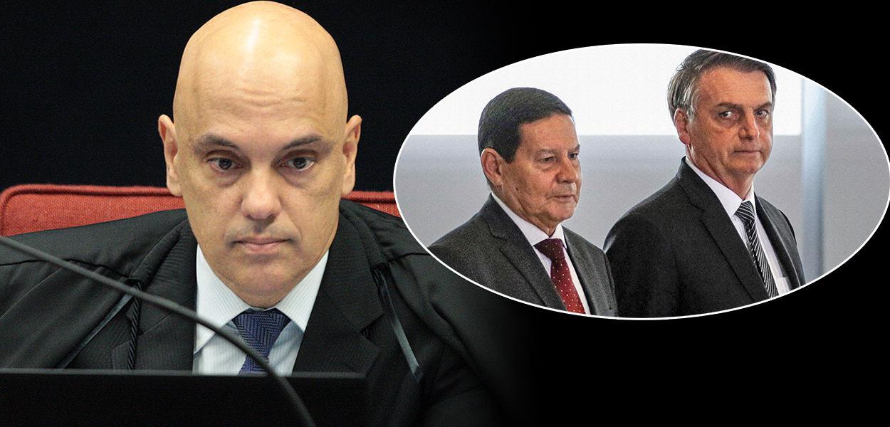 Ministro do STF Alexandre de Moraes, Jair Bolsonaro e Hamilton Mourão