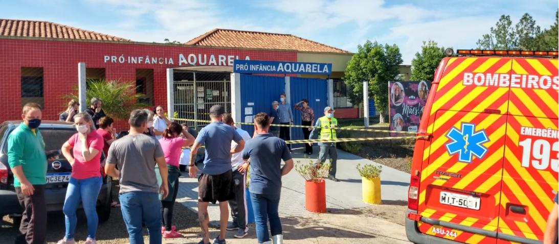 Escola infantil Pró-Infância Aquarela, na rua Quintino Bocaiúva, no bairro Industrial, em Saudades, no Oeste catarinense, na manhã desta terça-feira (4)