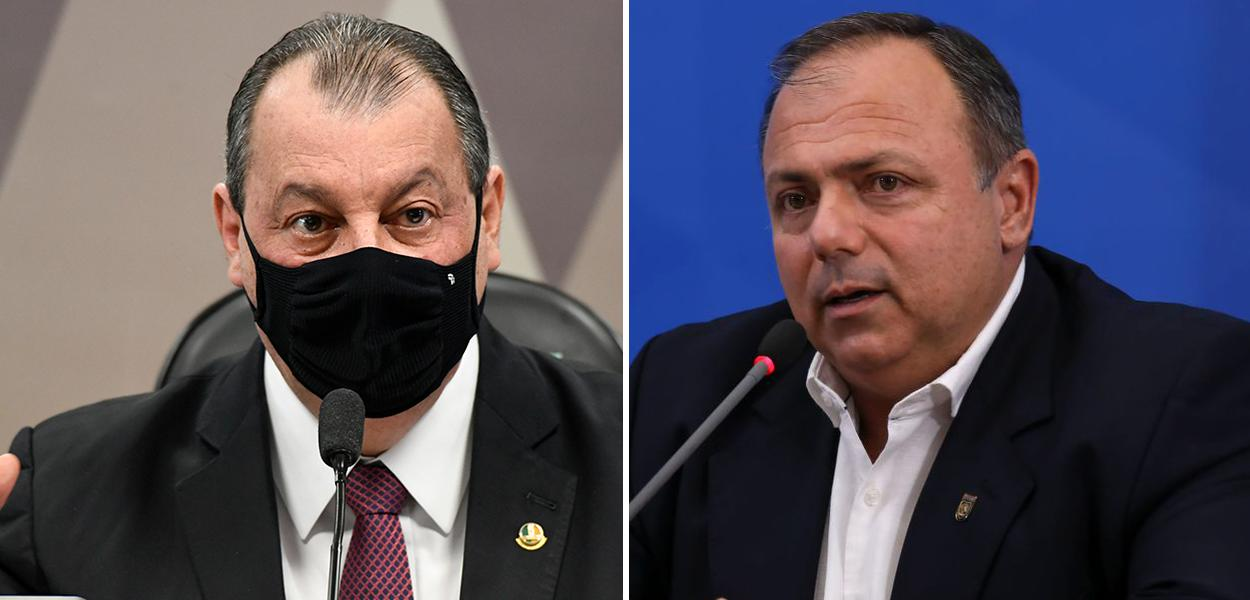 Presidente da CPI da Covid, Omar Aziz (PSD-AM), e o ex-ministro Eduardo Pazuello