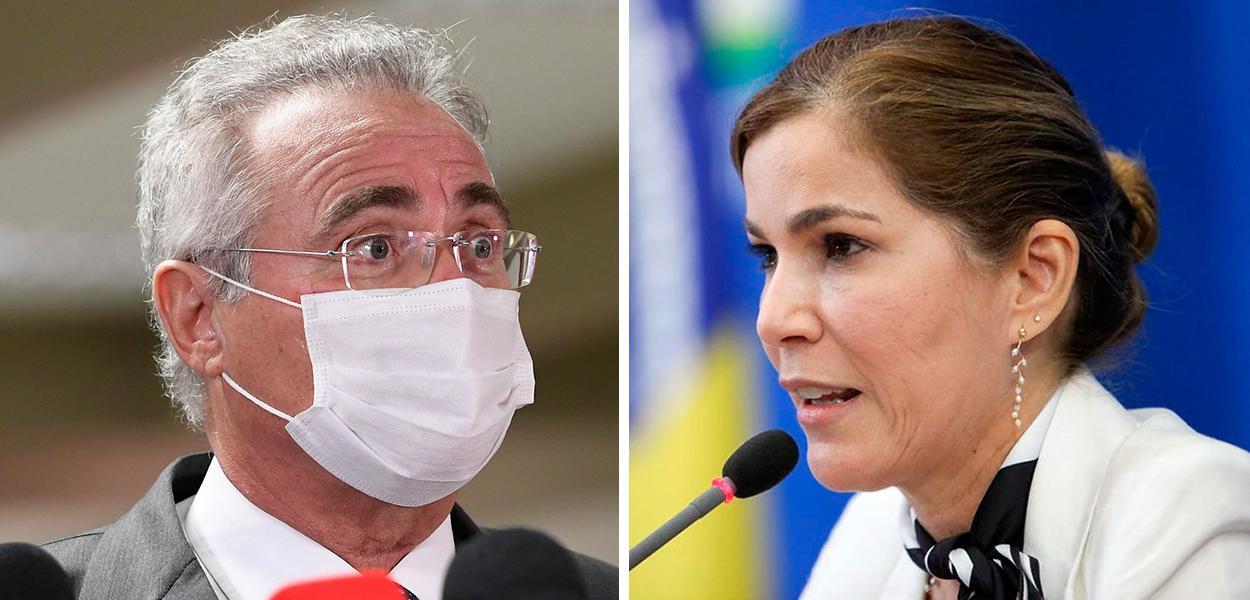 """Senador Renan Calheiros (MDB-AL) e a secretária de Gestão do Trabalho do Ministério da Saúde, Mayra Pinheiro, conhecida como """"Capitã Cloroquina"""""""