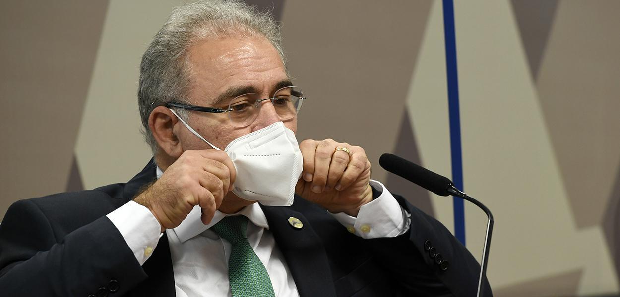 O ministro da Saúde, Marcelo Queiroga, em depoimento na CPI da Covid no Senado