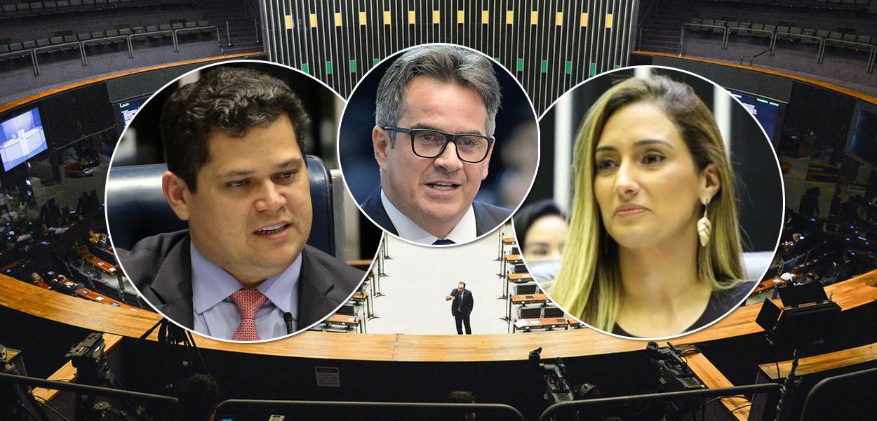 Senadores Davi Alcolumbre e Ciro Nogueira e a secretária de Governo deputada Flávia Arruda