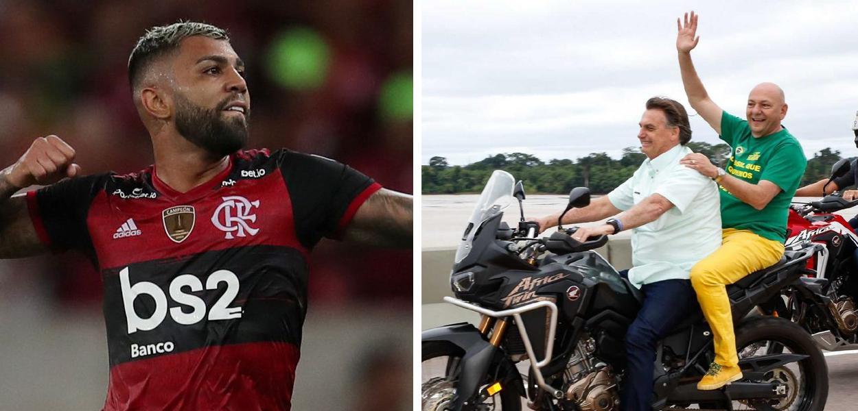 Atacante do Flamengo Gabigol e Jair Bolsonaro andando de moto junto com o empresário Luciano Hang