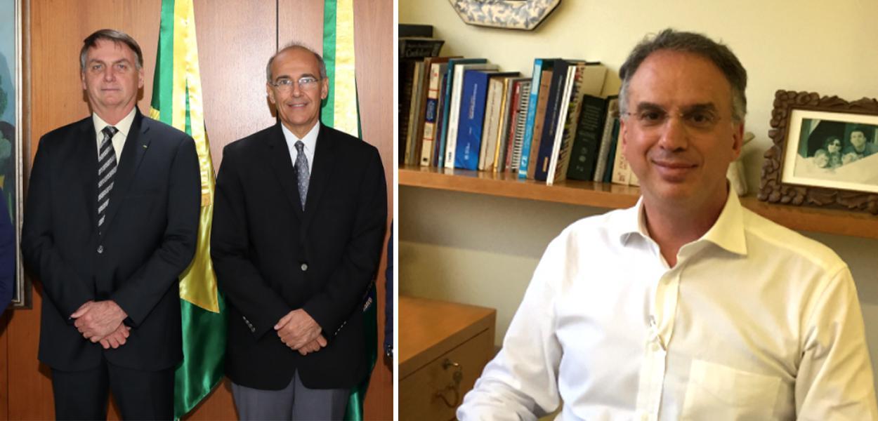 Bolsonaro, o presidente do CFM e Bruno Caramelli (fotos: Marcos Corrêa/PR e arquivo pessoal)