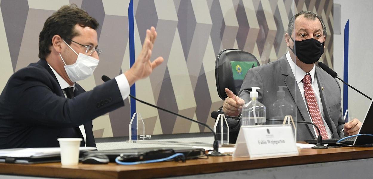 Fabio Wajngarten e Omar Aziz na CPI da Covid no Senado nesta quarta-feira (12)