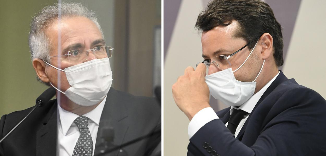 Senador Renan Calheiros e o ex-chefe da Secom Fabio Wajngarten