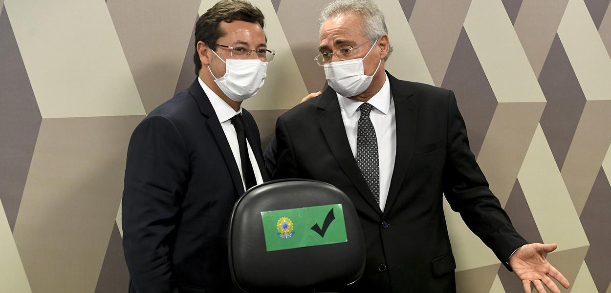 Fabio Wajngarten e Renan Calheiros na CPI da Covid no Senado nesta quarta-feira (12)