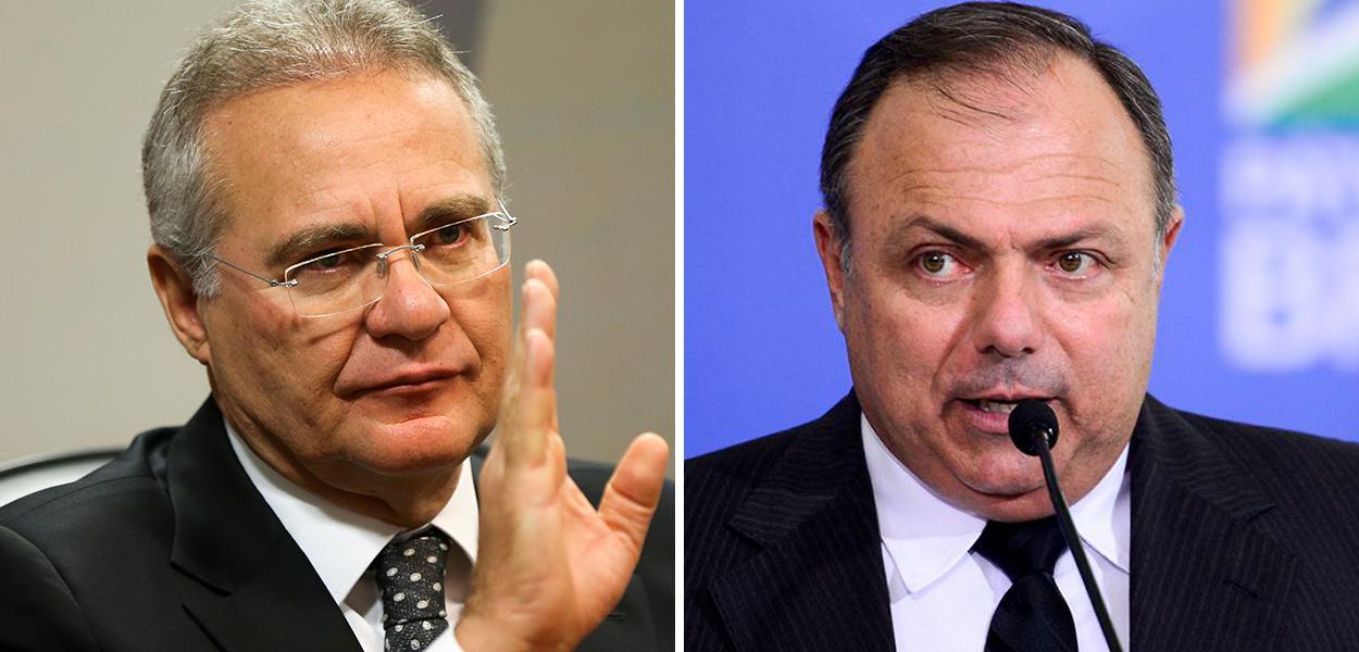 Renan Calheiros, relator da CPI da Covid, e ex-ministro da Saúde Eduardo Pazuello