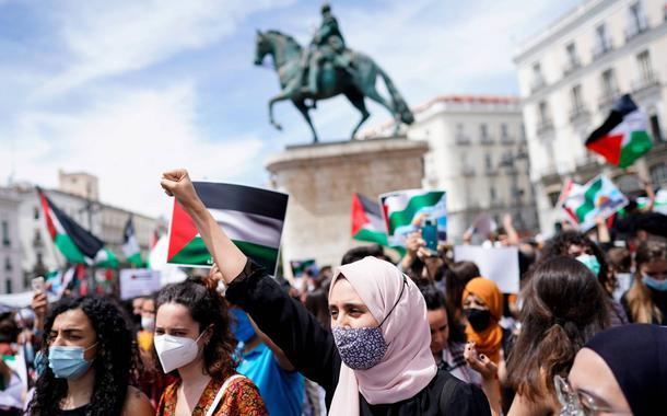 Protestos a favor dos palestinos