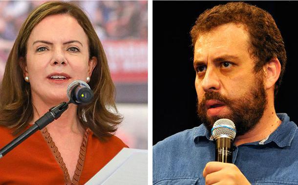 Presidente nacional do PT, Gleisi Hoffmann, e Guilherme Boulos, principal liderança do PSOL no País