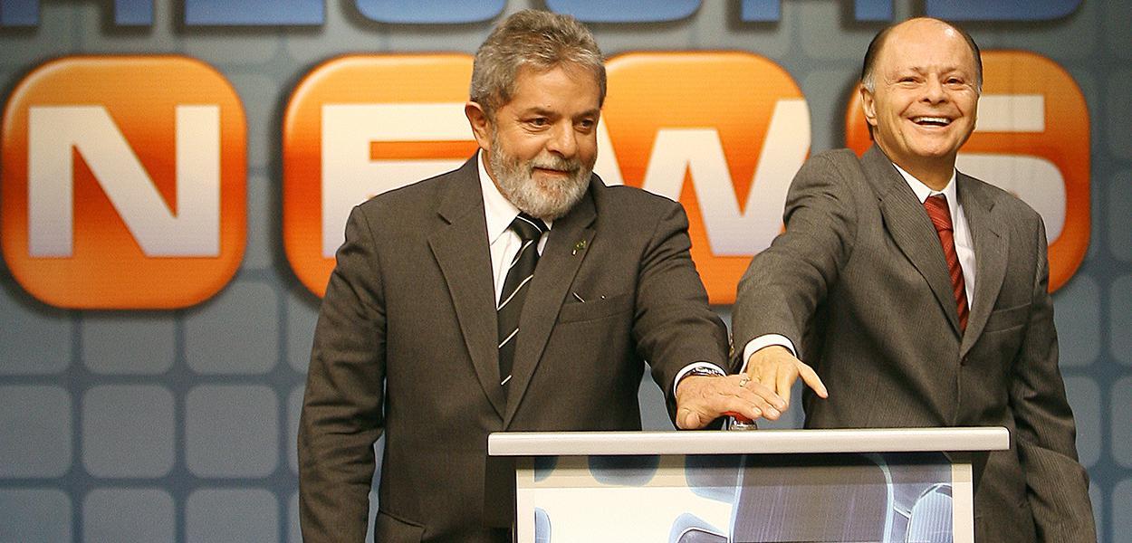 Lula e Edir Macedo em 2007, na inauguração da Record News