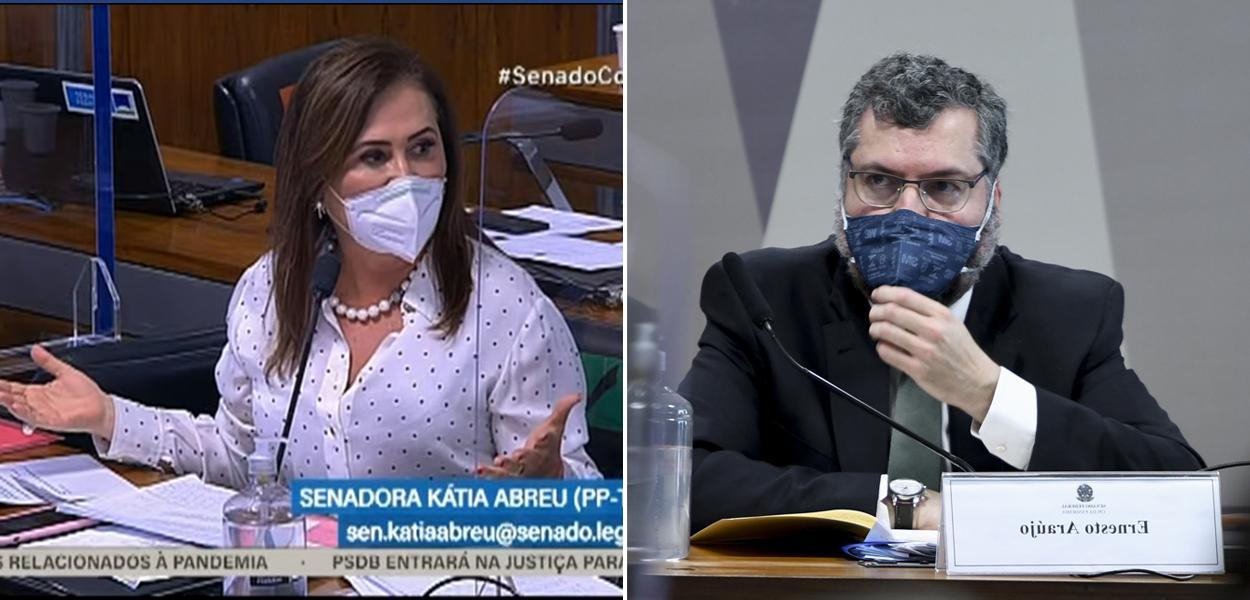 Senadora Kátia Abreu (PP-TO) e o ex-chanceler Ernesto Araújo