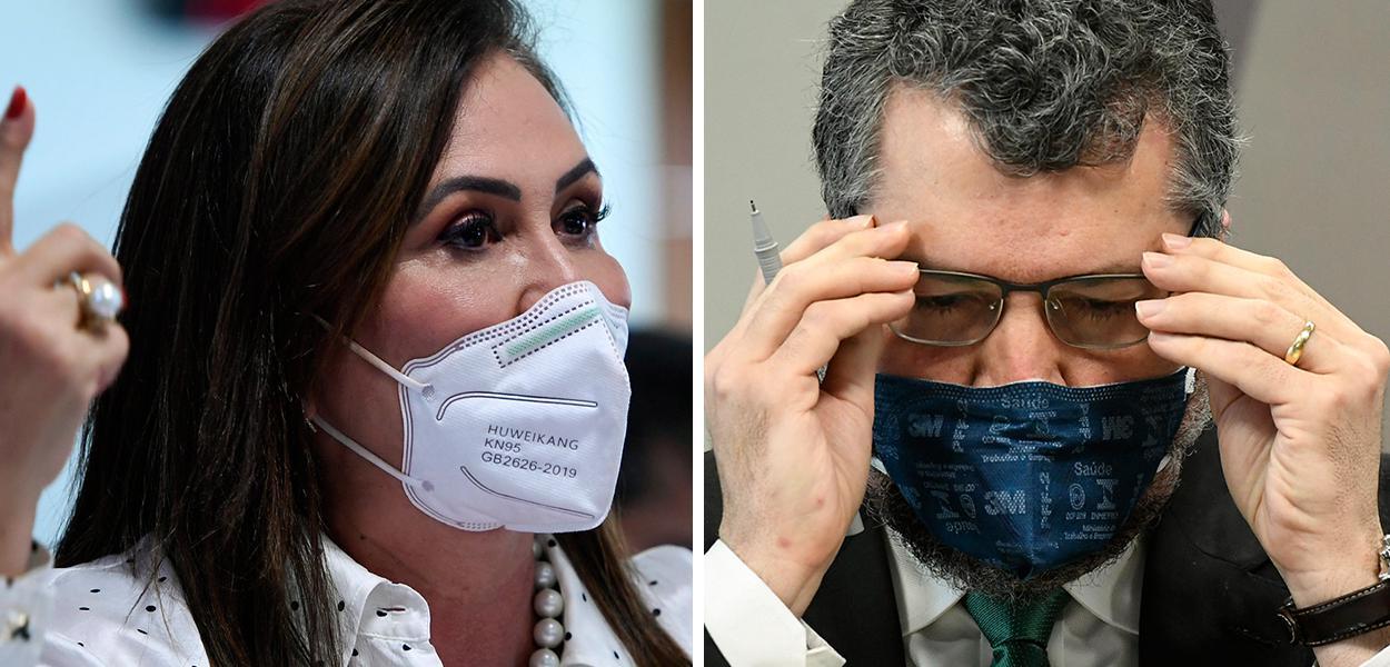 Senadora Kátia Abreu e ex-chanceler Ernesto Araújo durante sessão da CPI da Covid