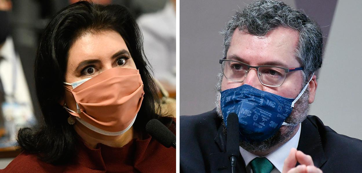 Simone Tebet e Ernesto Araújo