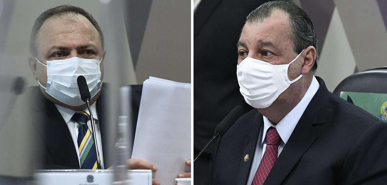 Eduardo Pazuello e Omar Aziz