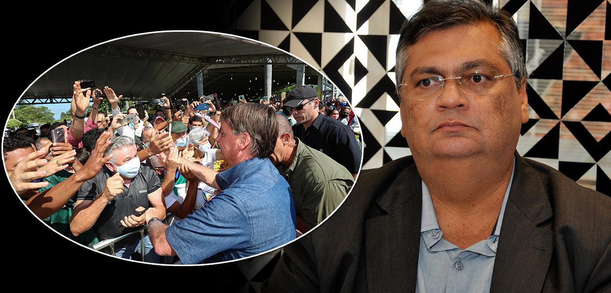 Bolsonaro  causando aglomeração e Flávio Dino