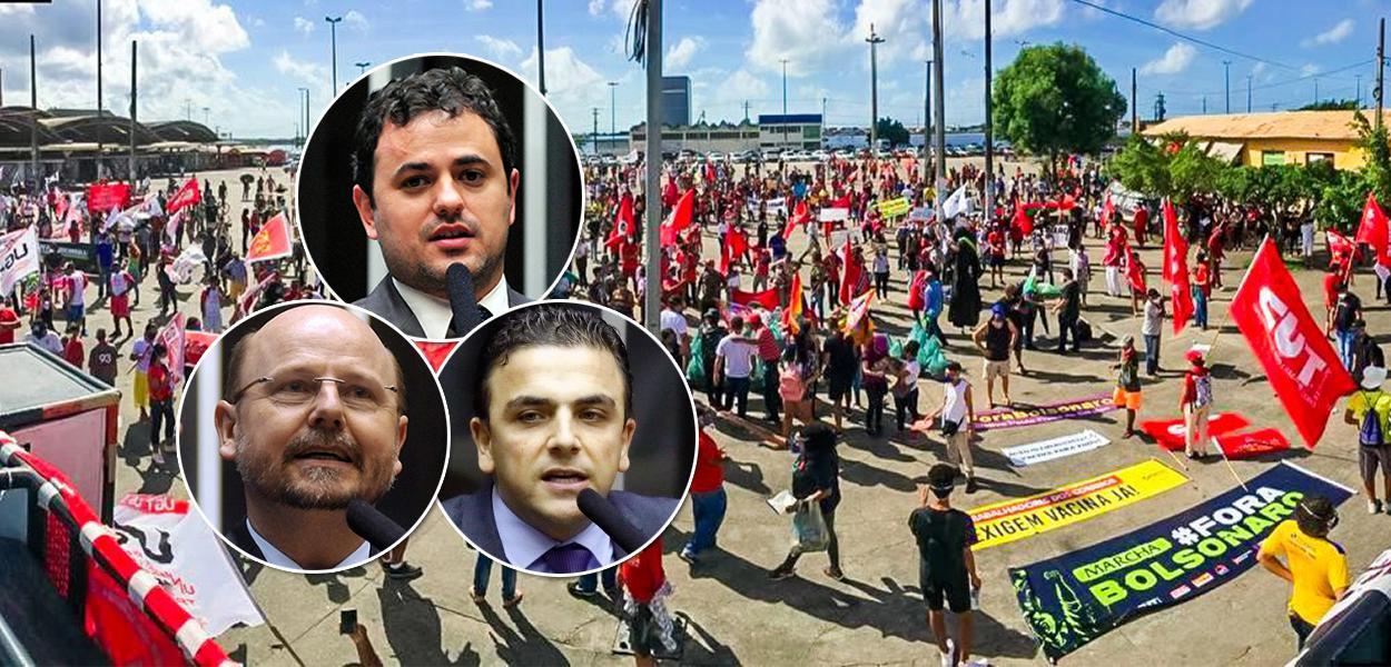 Deputados Bohn Gass (PT-RS), Glauber Braga (PSOL-RJ) e Aliel Machado (PSB-PR)