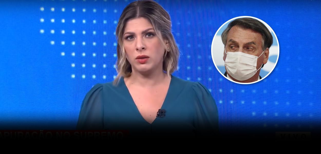 Jornalista Daniela Lima e Jair Bolsonaro