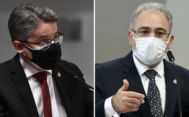 Senador Alessandro Vieira e o ministro da Saúde, Marcelo Queiroga