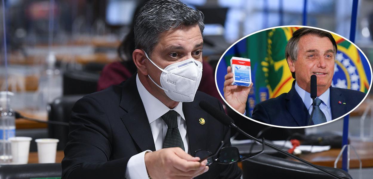Rogério Carvalho e Bolsonaro segurando caixa de cloroquina