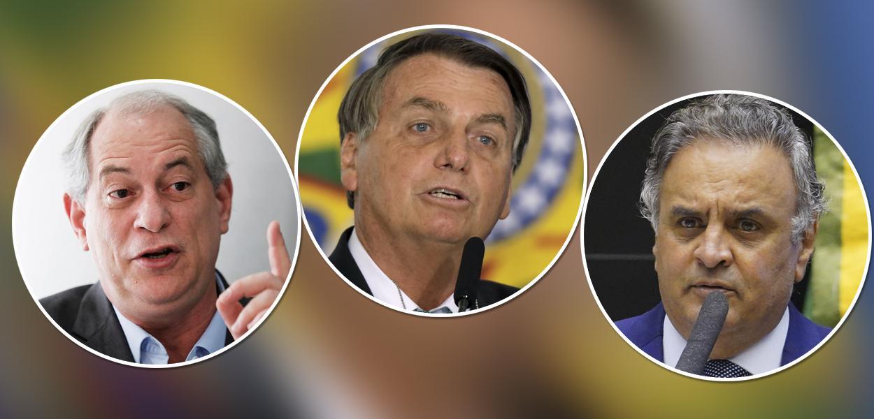 Ciro Gomes, Jair Bolsonaro e Aécio Neves