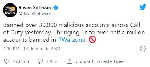 500 mil jogadores: esse é o número de usuário banidos do CoD: Warzone