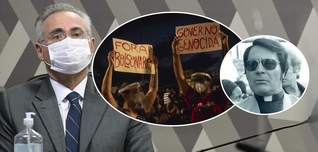 Senador Renan Calheiros (MDB-AL), ato contra Jair Bolsonaro e o ex-religioso Jim Jones
