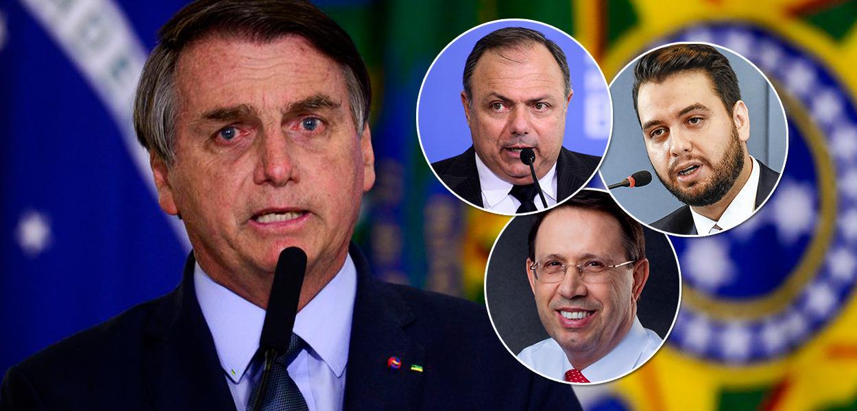 Jair Bolsonaro, ex-ministro Eduardo Pazuello, assessor Filipe Martins e o empresário Carlos Wizard