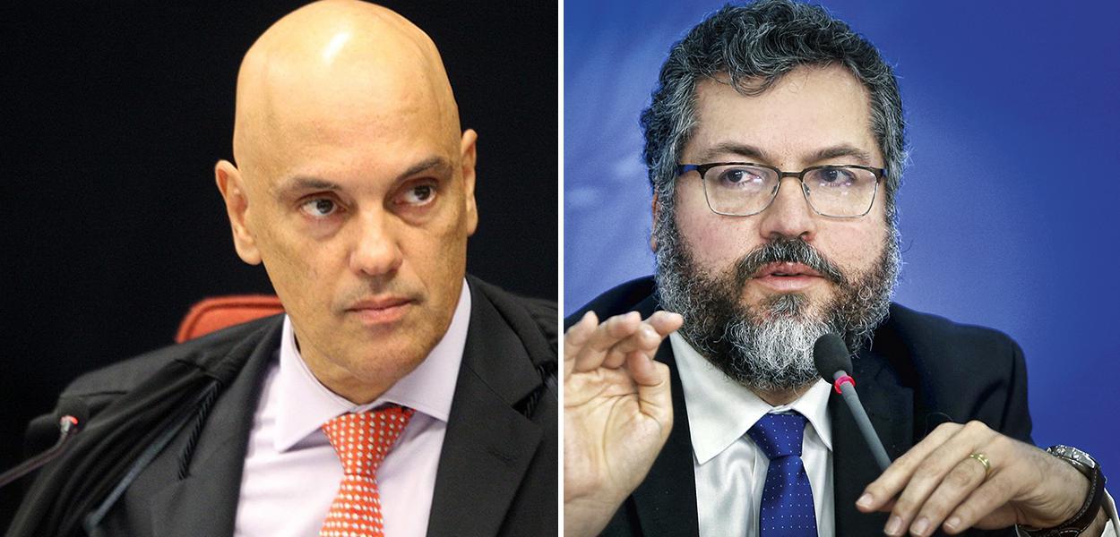 Alexandre de Moraes e Ernesto Araújo