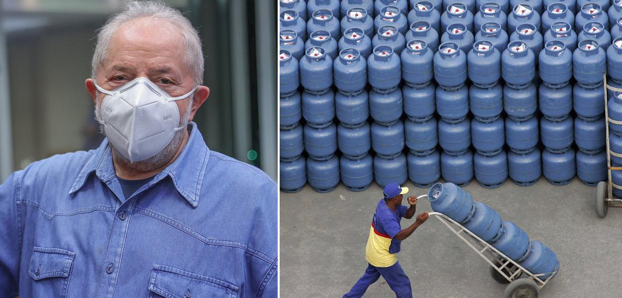 Ex-presidente Lula e botijões de gás