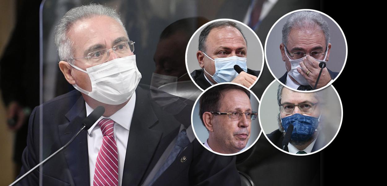 Renan Calheiros, Eduardo Pazuello, Carlos Wizard, Marcelo Queiroga e Ernesto Araújo