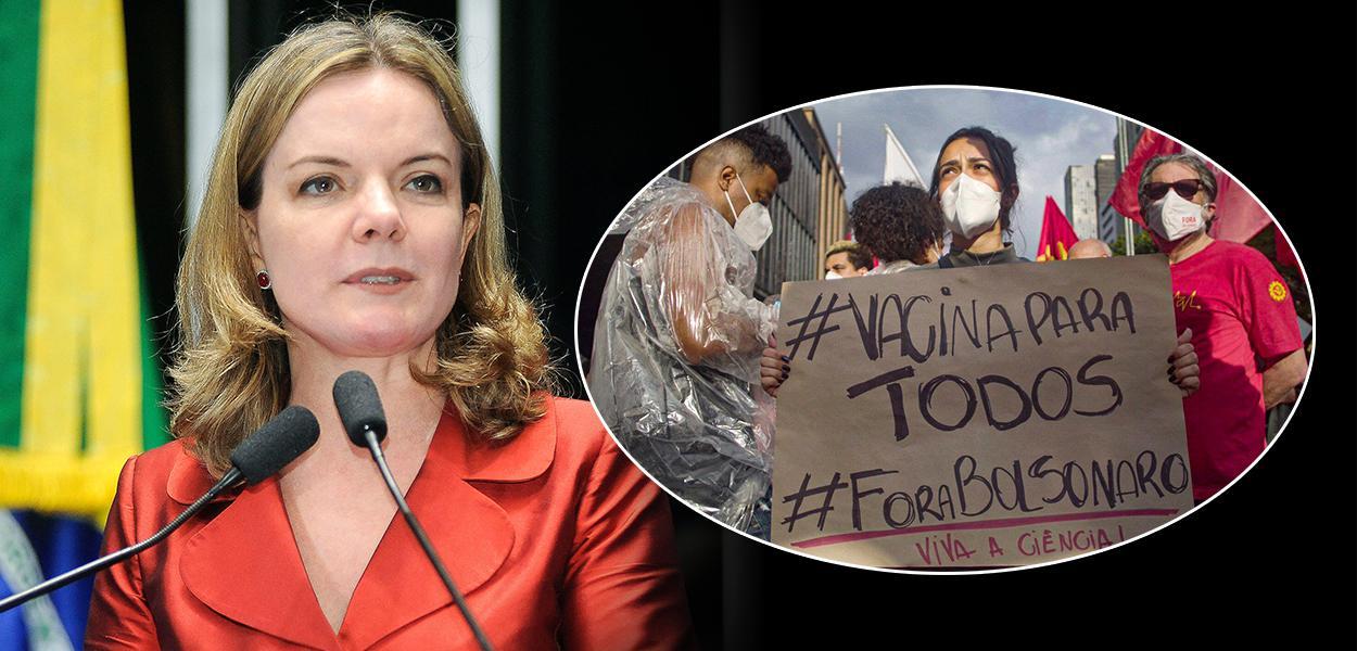 Presidente nacional do PT, Gleisi Hoffmann, e um protesto contra Jair Bolsonaro