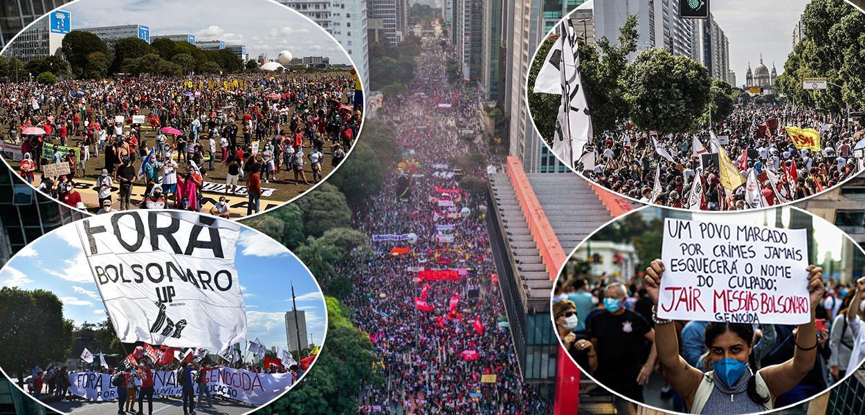 Manisfestantes protestam na avenida Paulista contra o governo de Jair Bolsonaro