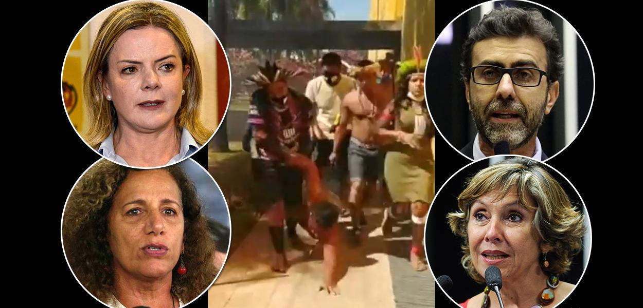 Parlamentares Gleisi Hoffamnn, Jandira Feghali, Marcelo Freixo e Erika Kokay mais a violência contra índios ao fundo