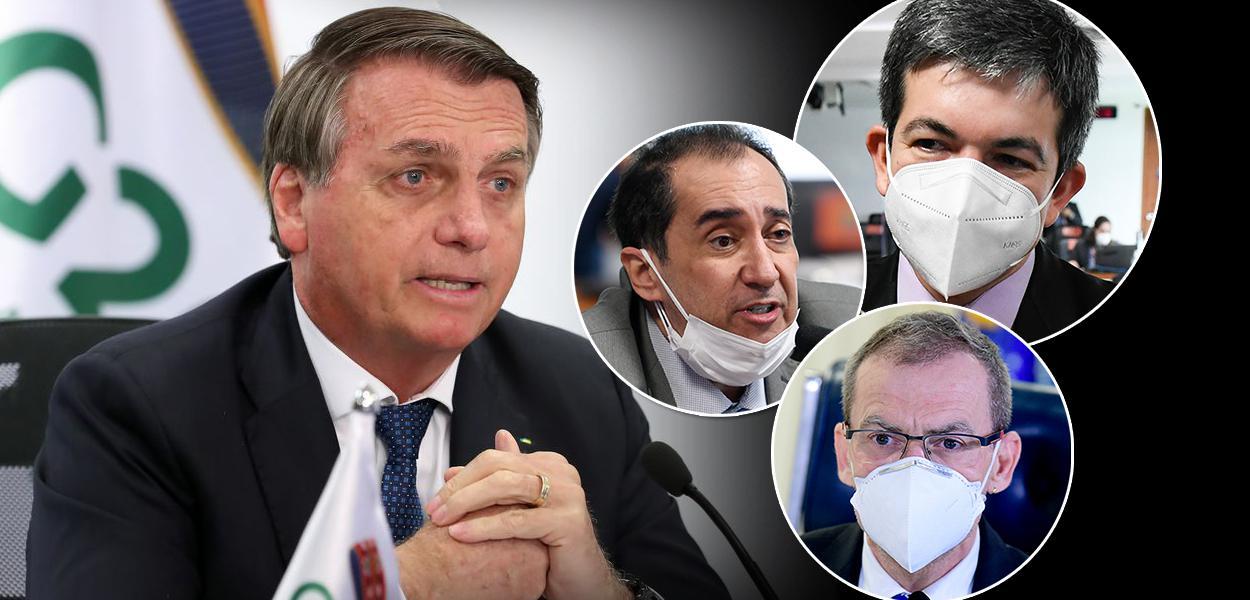 Jair Bolsonaro, Randolfe Rodrigues, Jorge Kajuru e Fabiano Contarato