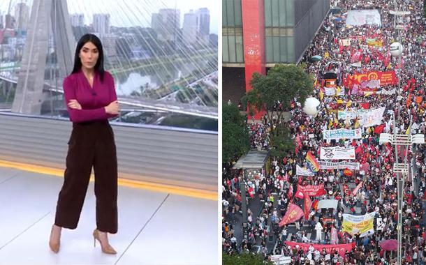 Michelle Barros e manifestação: já não dá para segurar o grito. Foto: reprodução