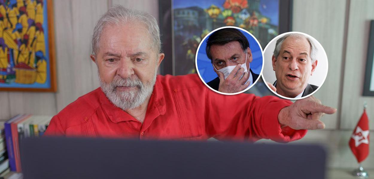 Ex-presidente Lula, Jair Bolsonaro e Ciro Gomes