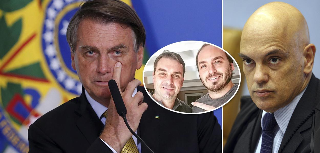 Bolsonaro, Flávio com Carlos Bolsonaro e Alexandre de Moraes