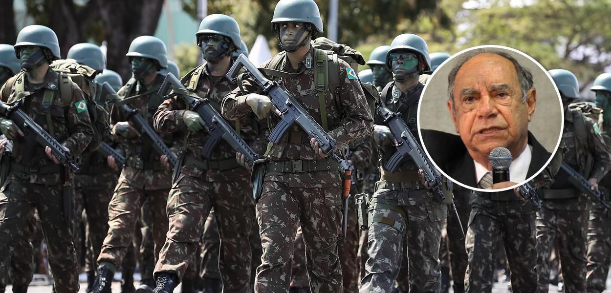 Militares e o ex-coronel Carlos Alberto Brilhante Ustra