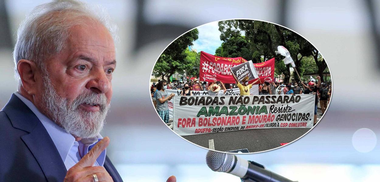 Ex-presidente Lula e manifestação contra Jair Bolsonaro