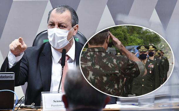 Presidente da CPI da Covid, Omar Aziz, e militares