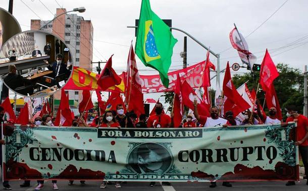 Deputado Ricardo Barros, sessão da CPI da Covid e um protesto contra Jair Bolsonaro