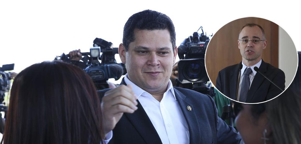 Presidente do Senado, Davi Alcolumbre, e advogado-geral da União, André Mendonça
