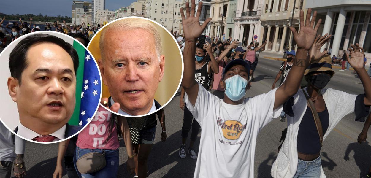 Yang Wanming, Joe Biden e protesto em Cuba