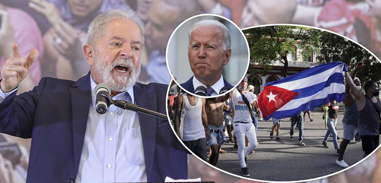 Ex-presidente Luiz Inácio Lula da Silva, presidente dos EUA, Joe Biden e atos em Cuba