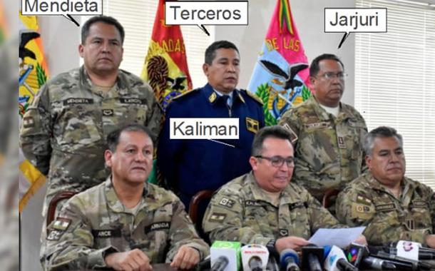 A cúpula militar que pediu a renúncia de Evo Morales no dia 10 de novembro de 2019