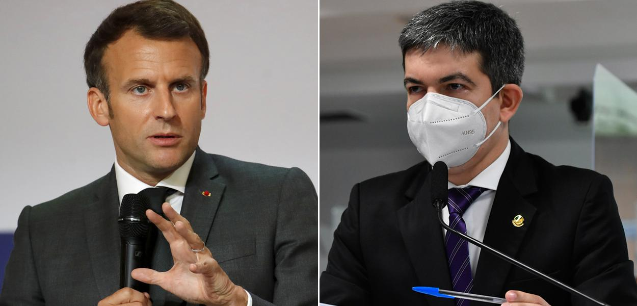 Emmanuel Macron e Randolfe Rodrigues