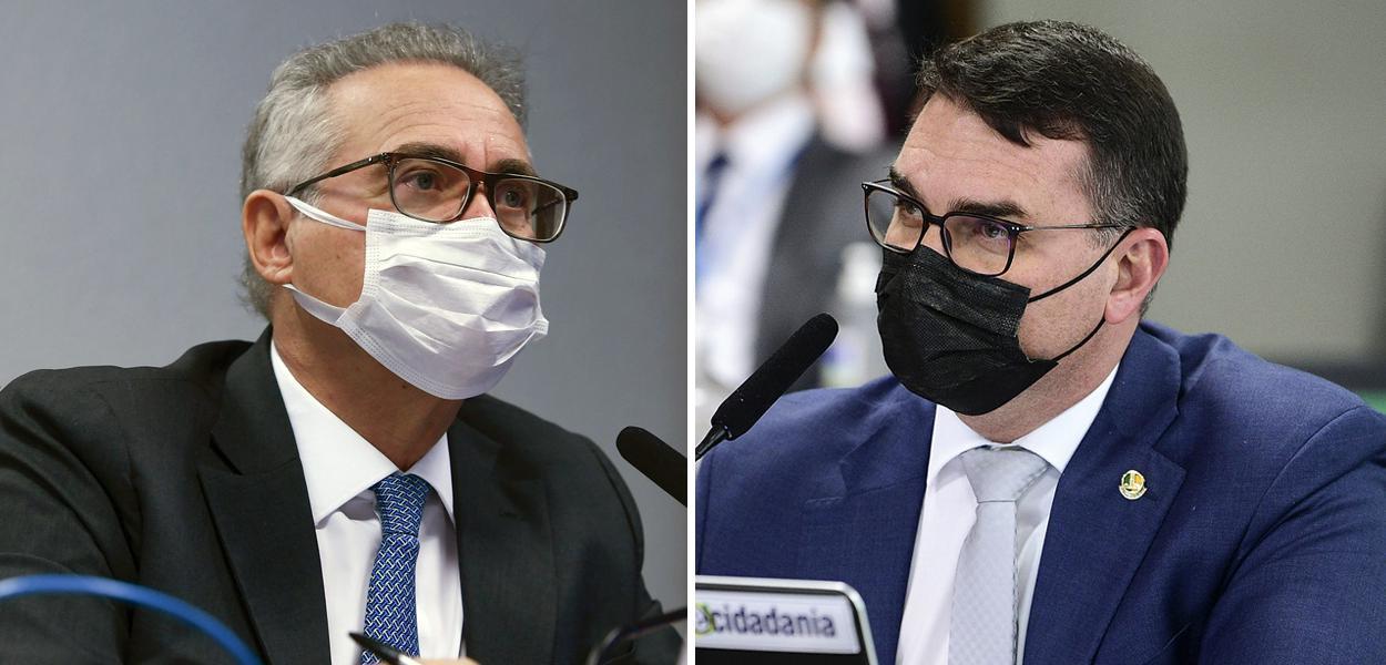 Senadores Renan Calheiros e Flávio Bolsonaro